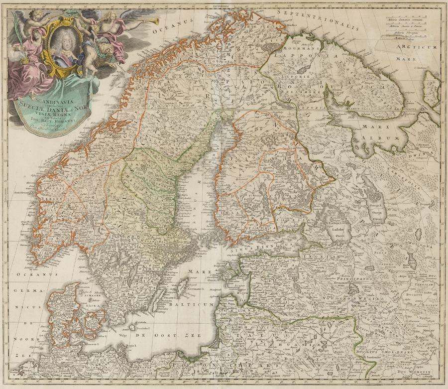 "Johann Baptist Homann, (1663–1724) ""Scandinavia complectens Sueciae. Daniae & Norvegia."" Nürnberg, 1720/1730"